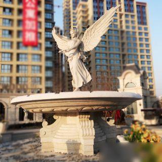 大型欧式喷泉石雕西方天使喷泉石雕