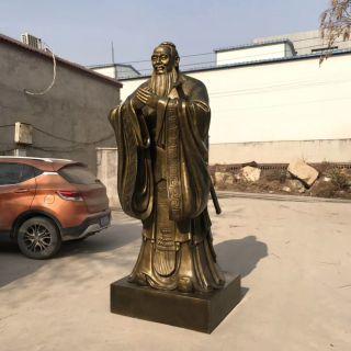 仿铜孔子像玻璃钢名人雕塑