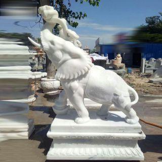 汉白玉象驮如意雕塑石雕招财象