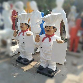 卡通厨师玻璃钢饭店门口雕塑