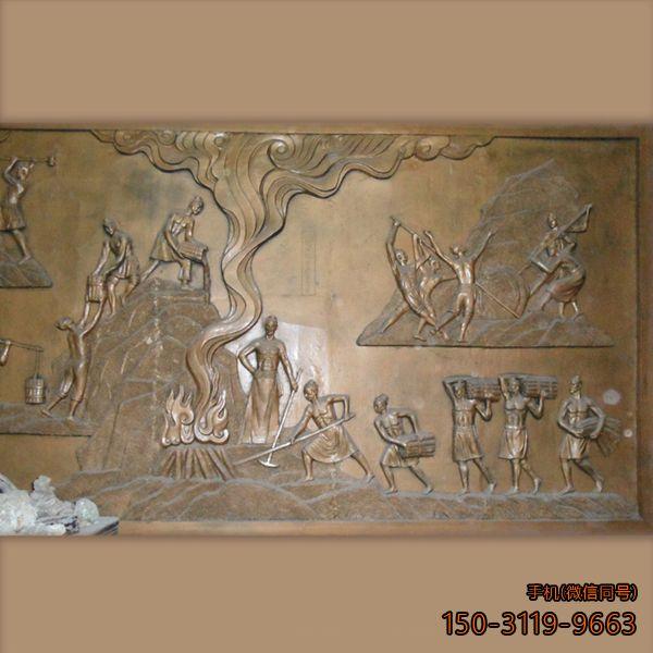 校园古人劳作主题的仿铜浮雕墙