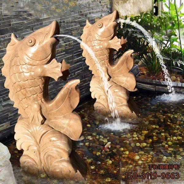 庭院石雕鱼喷泉_晚霞红园林动物喷泉