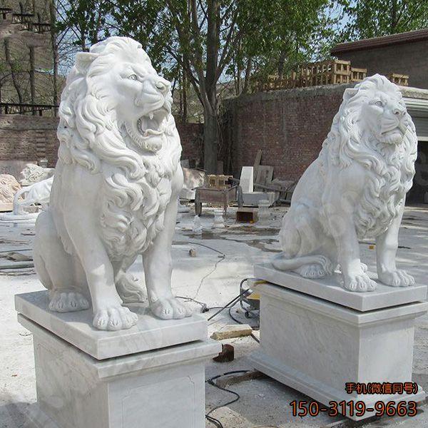 汉白玉西洋狮子_小区寺庙看门动物