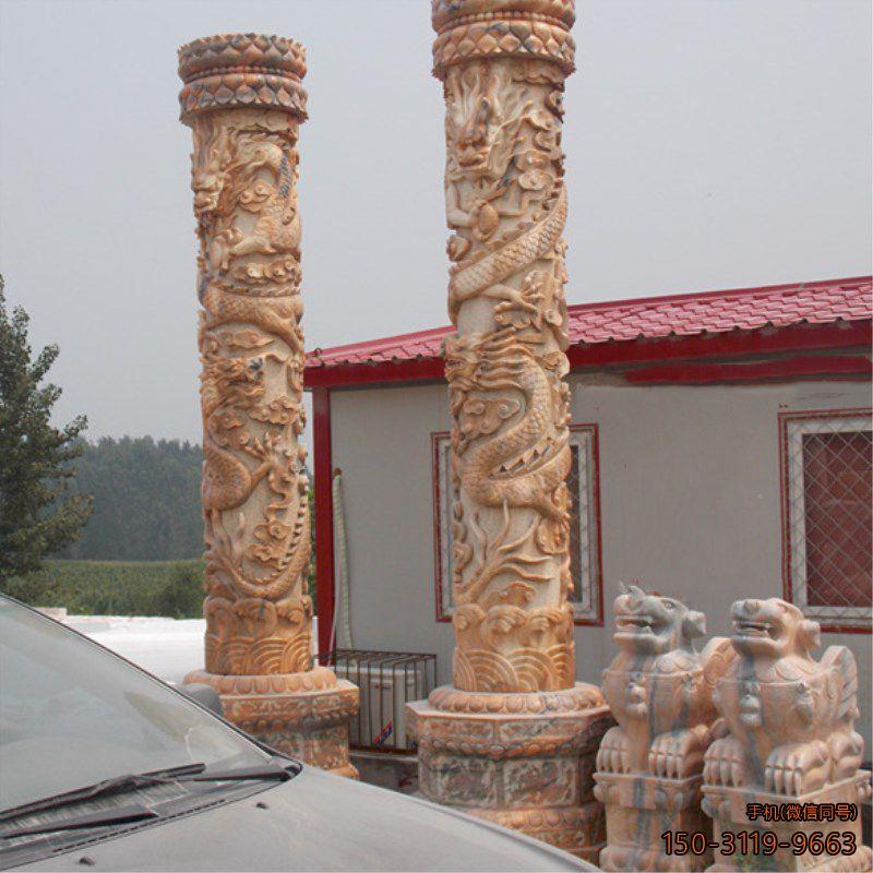 晚霞红浮雕龙柱_景区广场园林雕塑