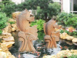 晚霞红石雕喷水鱼