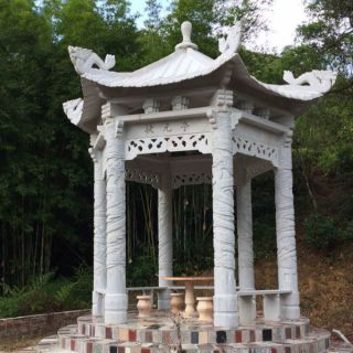 青石雕刻的石雕古建凉亭