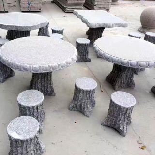 花岗岩方木桩圆桌凳