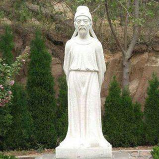 唐代著名诗人杜甫汉白玉雕像