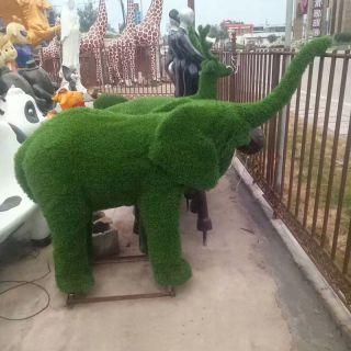 绿植大象_小区公园玻璃钢动物雕塑