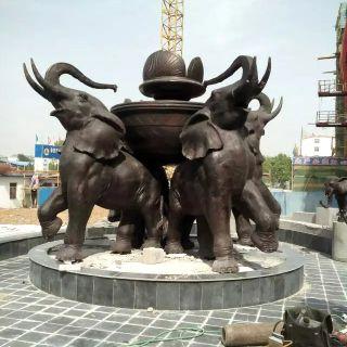 广场铜雕大象_景区动物景观