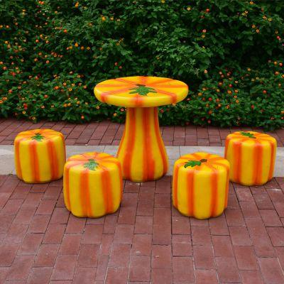 玻璃钢仿南瓜桌凳_幼儿园儿童游乐场桌凳