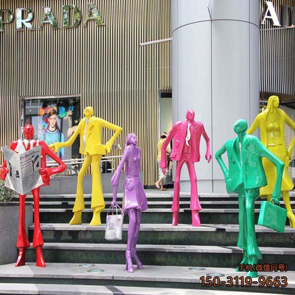彩色玻璃钢剪影人物_商场广场人物摆件