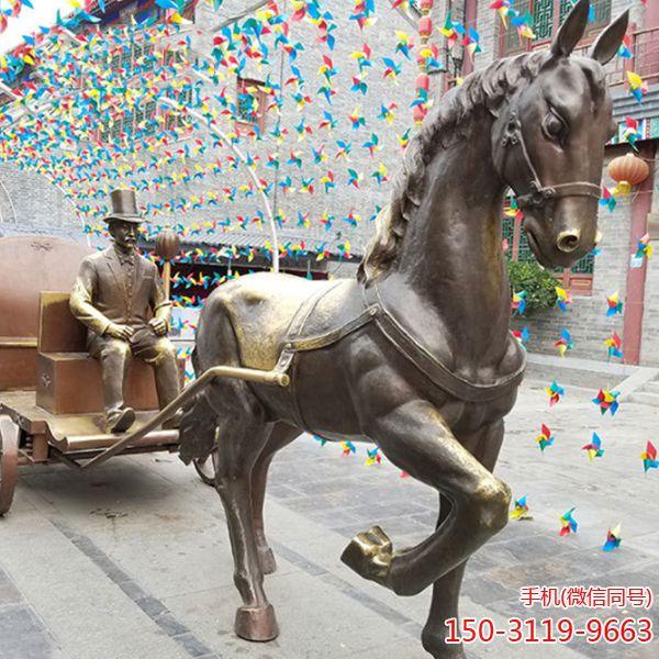 马拉车铜雕_古代西方人战车铜马雕塑景观