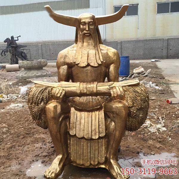 蚩尤雕塑_铸铜神农炎黄五帝雕像定制
