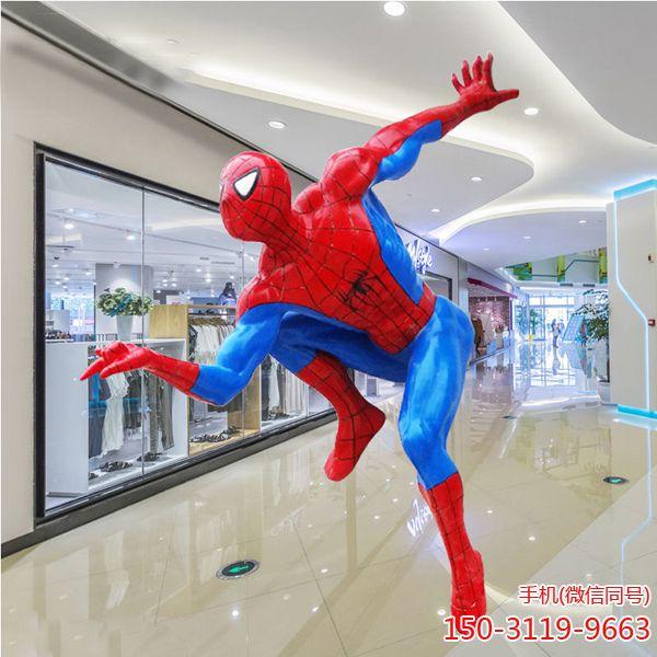 玻璃钢蜘蛛侠雕塑_园林景观商场卡通动漫人物可定制 (2)