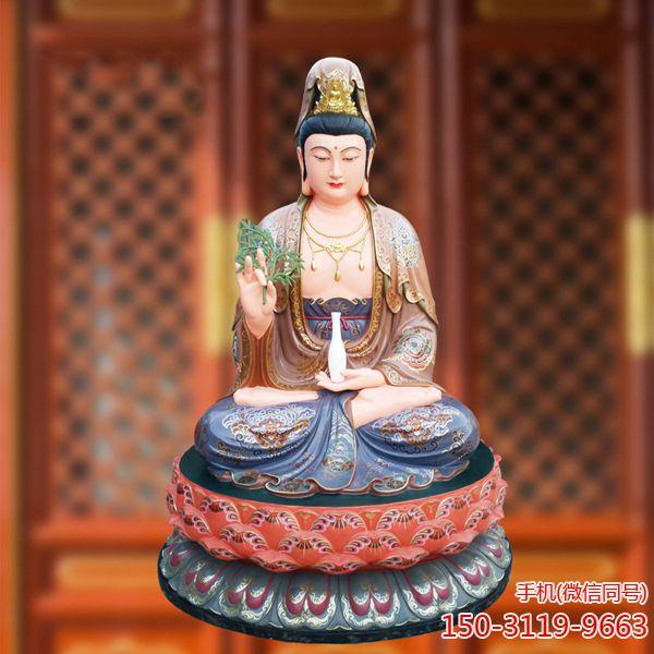 观音菩萨玻璃钢雕塑_彩绘树脂佛像工厂直销可定制 (3)