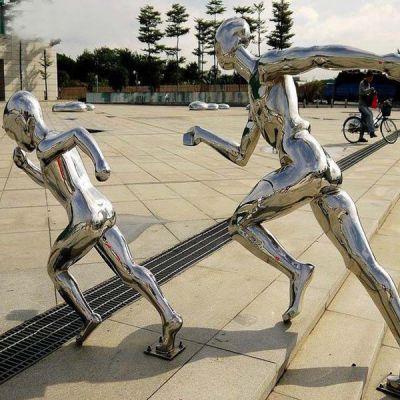 《奔跑》镜面不锈钢人物雕塑