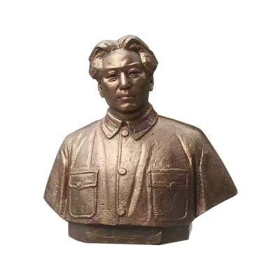 少年毛泽东胸像_玻璃钢仿铜漆金雕像