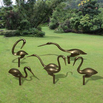 玻璃钢仿铜仙鹤_公园景区动物摆件