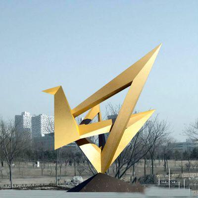 不锈钢仙鹤景观雕塑