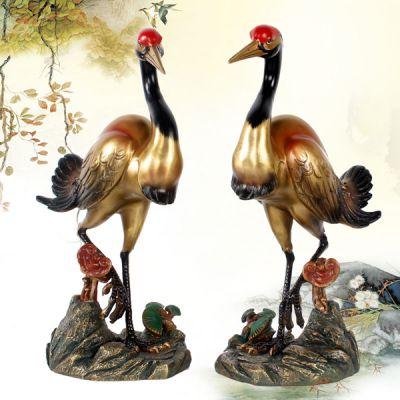 彩绘铜雕仙鹤
