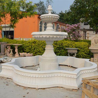 大型流石雕喷泉 天然大理石手工雕刻景观喷泉