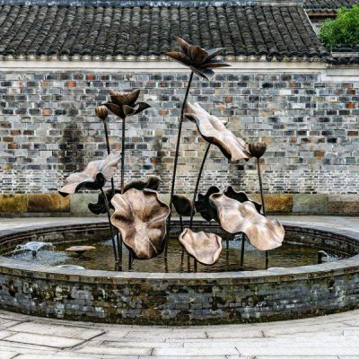 古建喷泉荷花铜雕装饰