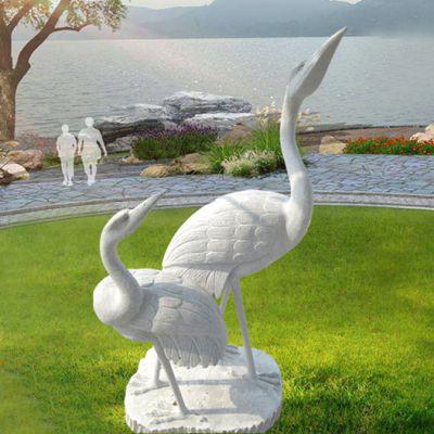 汉白玉石雕仙鹤