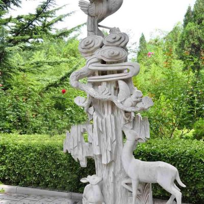 石雕仙鹤景观雕塑