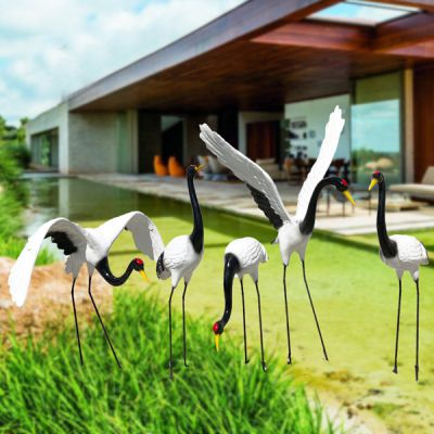 玻璃钢雕塑仿真仙鹤_动物摆件户外花园装饰园林假山丹顶鹤景观小品