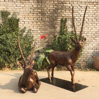 藏羚羊铜雕塑_黄铜铸造大型动物工艺品摆件