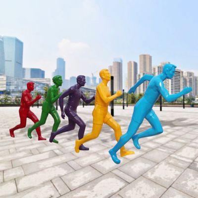 玻璃钢抽象运动人雕塑_校园广场彩绘跑步运动员体育馆公园装饰摆件