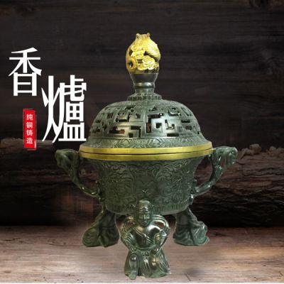 龙头香炉_纯铜铸造如意香炉铜工艺品