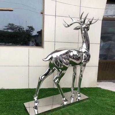 不锈钢鹿雕塑_镜面广场园林景观小区装饰摆件