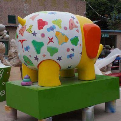 玻璃钢彩绘卡通小象_商场幼儿园可爱大象雕塑