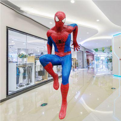 玻璃钢蜘蛛侠雕塑_园林景观商场卡通动漫人物可定制