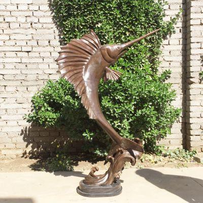 剑鱼戏水铜雕塑_金枪鱼海洋动物艺术品摆件