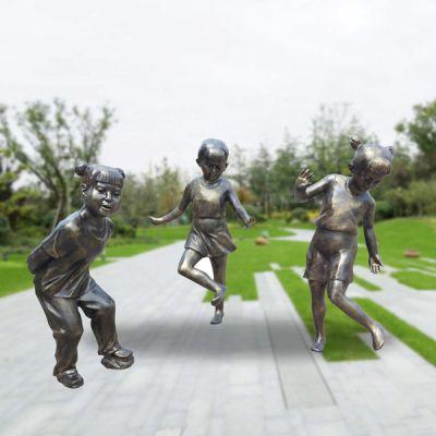 童趣踢毽子_城市景观小品铜雕塑