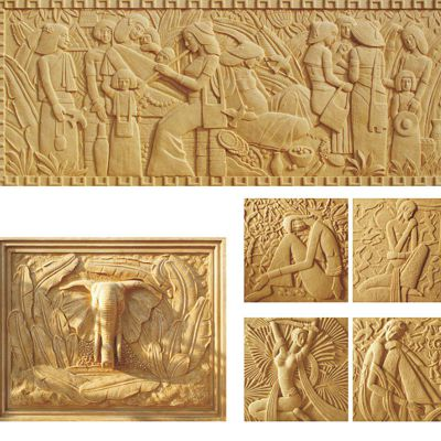 抽象人物砂岩浮雕
