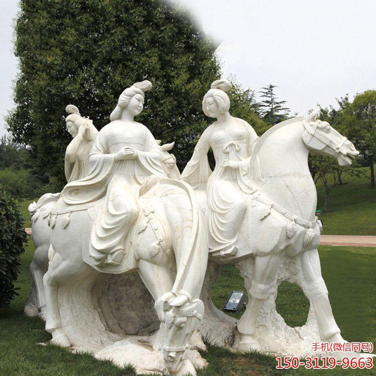 汉白玉古代仕女雕塑