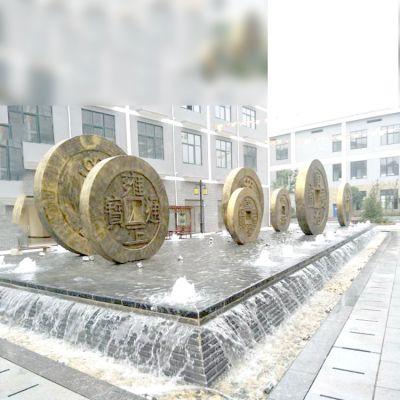 铜钱水景景观雕塑摆件