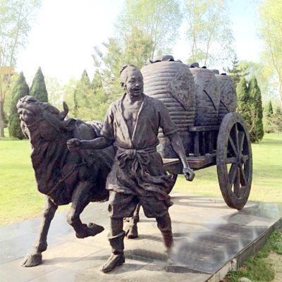 牛车铜雕小品