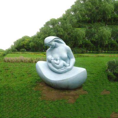 汉白玉抽象哺育人物雕塑