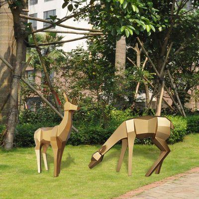 仿铜几何切面雕塑鹿