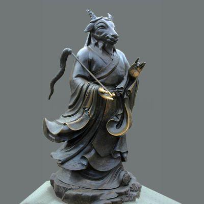 兽首人身12生肖铜雕像-未羊