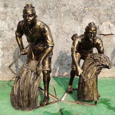 割麦子-农耕雕塑
