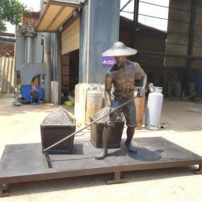 晒麦子-农耕雕塑