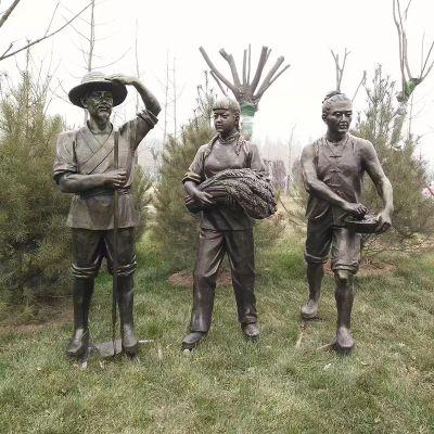 收稻子和播种-农耕雕塑