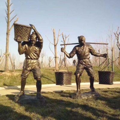收粮食-农耕雕塑