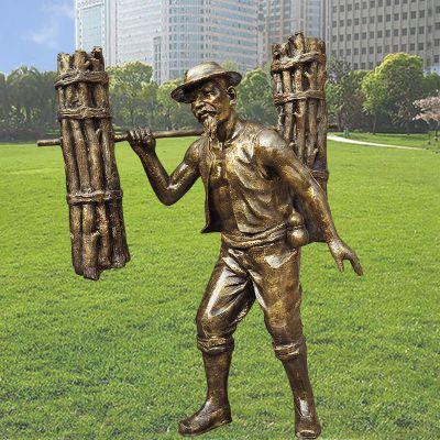 挑柴--农耕雕塑